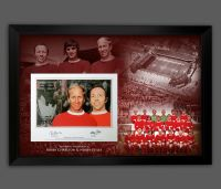 Nobby Stiles And Bobby Charlton Dual Signed  Manchester United  Photograph Framed  In A Picture Mount Display