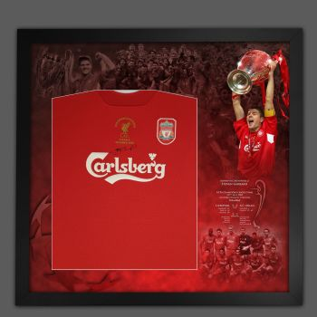 Steven Gerrard Hand Signed Liverpool Football Shirt In Framed Picture Mount  Presentation.