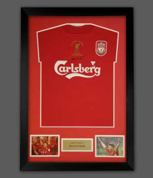 Steven Gerrard Hand Signed Liverpool Football Shirt In A Frame Presentation