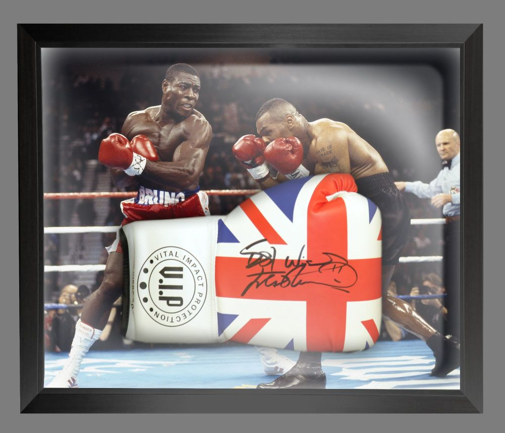 Frank Bruno Hand Signed Union Jack Vip Boxing Glove In A Dome : B