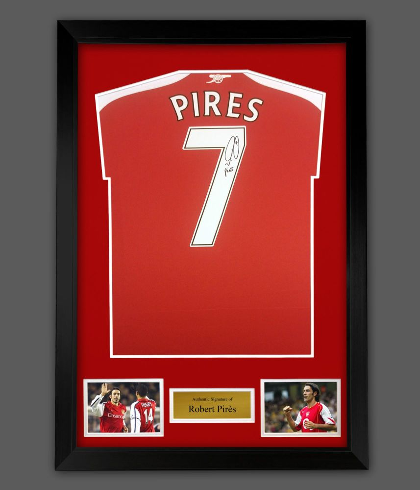 Robert Pires Signed Arsenal Fc Football Shirt In A Framed Presentation :