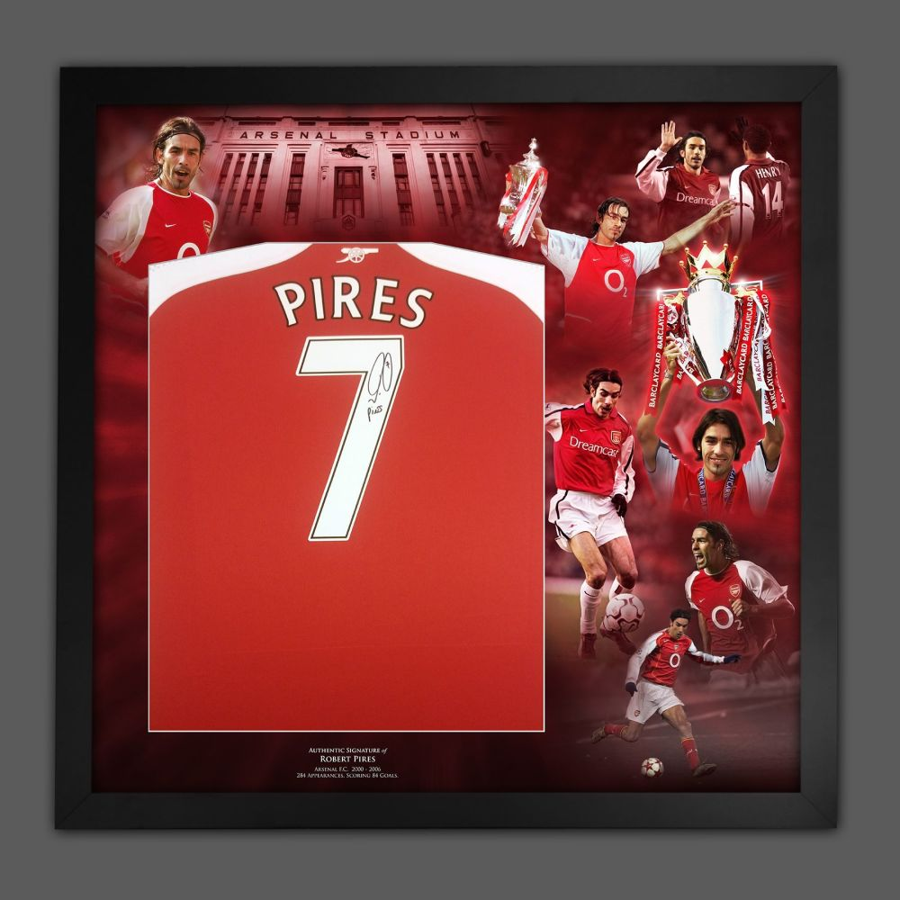Robert Pires Signed Arsenal Fc Football Shirt In A Framed Picture Mount Pr
