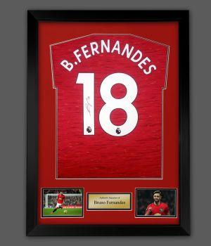 Bruno Fernandes Signed 20/21 Manchester United Football Shirt In A Framed Presentation