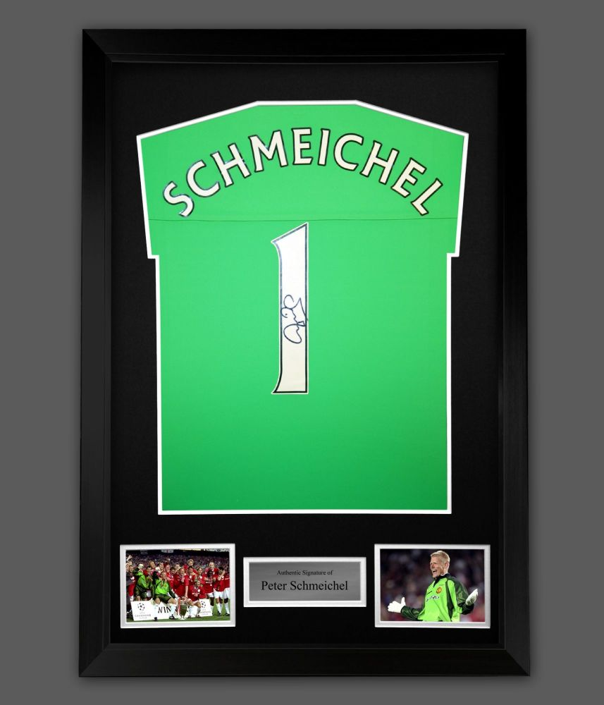 Peter Schmeichel Signed Manchester United Football Shirt In A Framed Pre