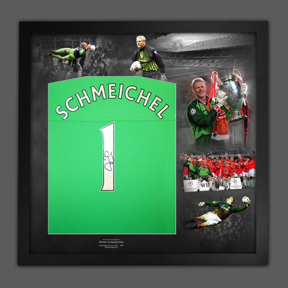 Peter Schmeichel Signed Manchester United Football Shirt Framed In A Pict