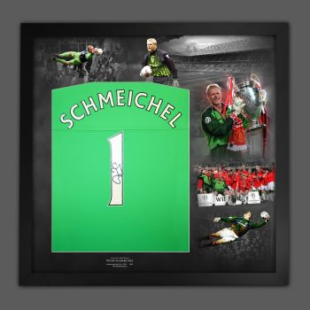 Peter Schmeichel Signed Manchester United Football Shirt Framed In A Picture Mount Display