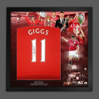 Ryan Giggs Hand Signed Manchester United Football Shirt In Framed Picture Mount Presentation: