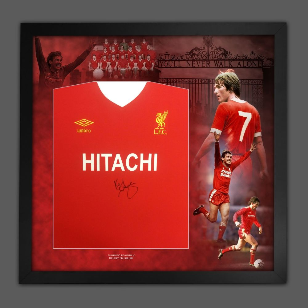 Kenny Dalglish Signed Liverpool Fc Hitachi Football Shirt In A Picture Mou