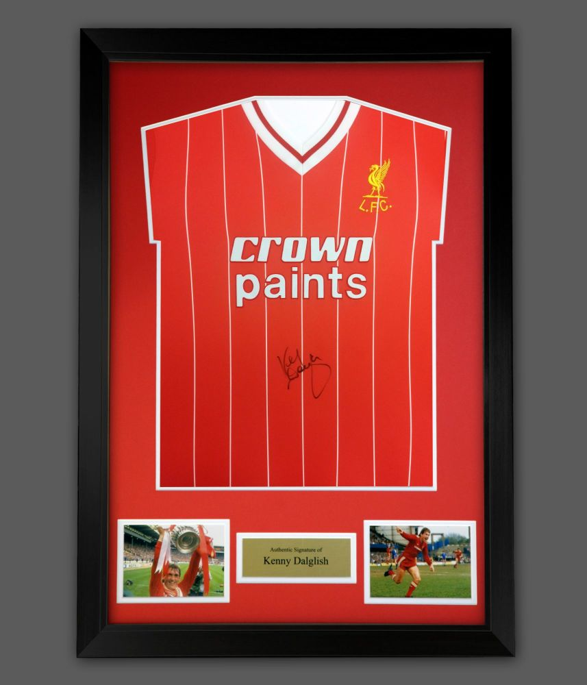 Kenny Dalglish Signed  Liverpool Fc Crown Paints Football Shirt In A Frame