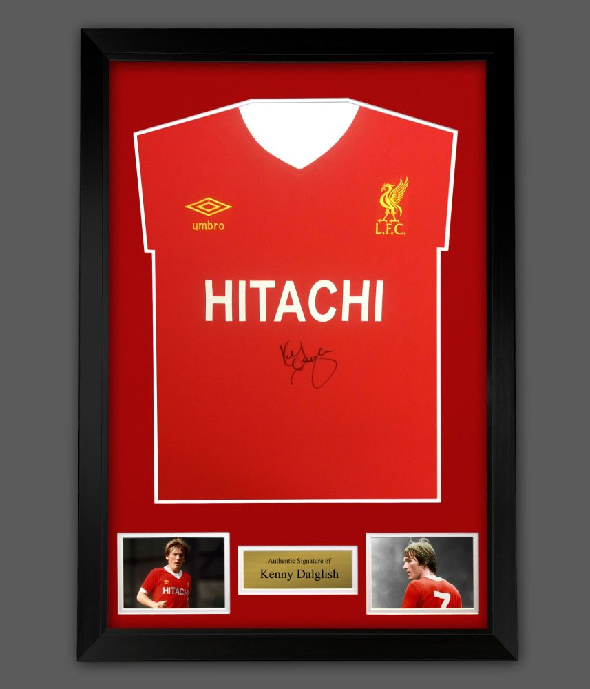 Kenny Dalglish Signed  Liverpool Fc Hitachi Football Shirt In A Frame Pres