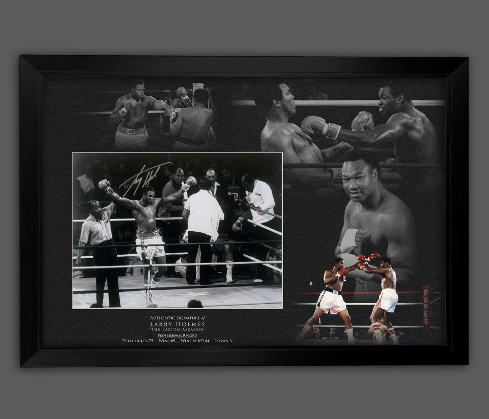 Larry Holmes Signed And Framed 12x16 Boxing Photograph  In A Picture Mount