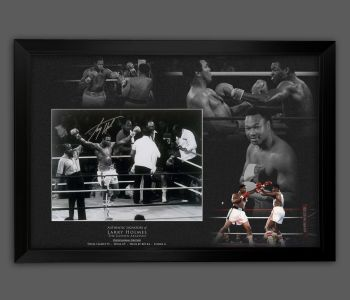 Larry Holmes Signed And Framed 12x16 Boxing Photograph  In A Picture Mount Display.