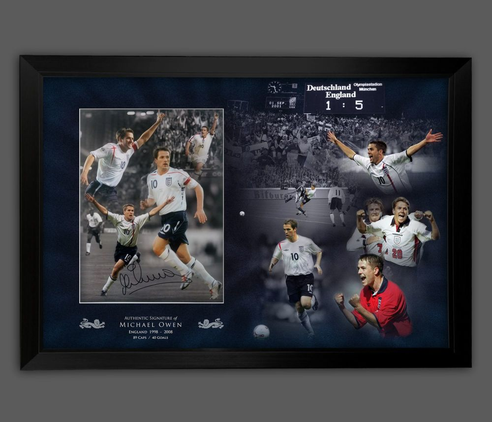 Michael Owen Signed And Framed 12x16 Football Montage In A Picture Mount D