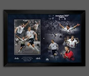 Michael Owen Signed And Framed 12x16 Football Montage In A Picture Mount Display
