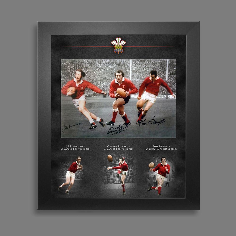 Wales Rugby  Triple Signed Photograph 12x16 Photograph  In A Picture Mount