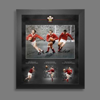 Wales Rugby  Triple Signed  12x16 Photograph  In A Picture Mount Display