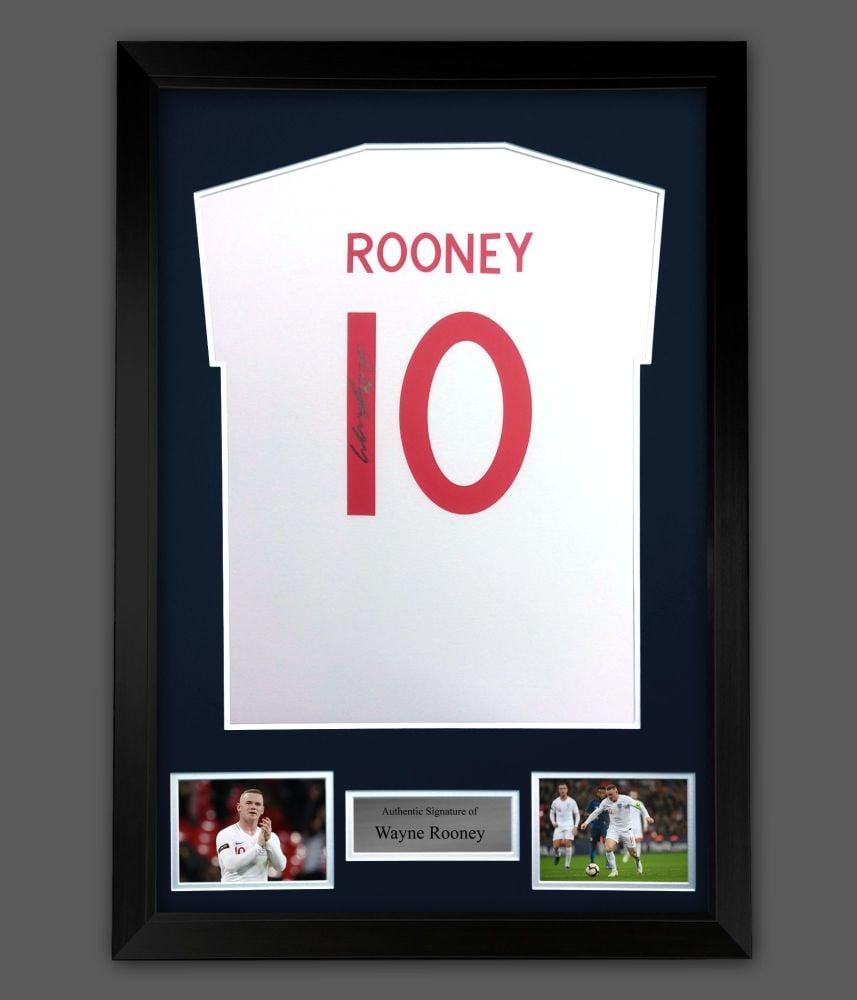 Wayne Rooney Hand Signed White T Shirt In A Frame Presentation:  B : Star