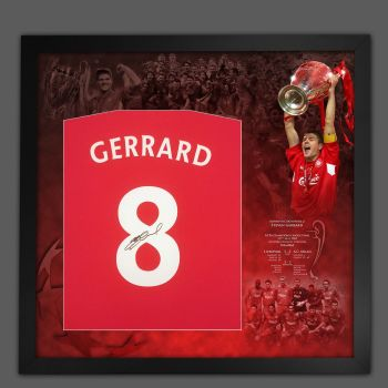 Steven Gerrard Hand Signed And Framed  Red T-Shirt In A Picture Mount Display  : A: Star Deal