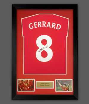 Steven Gerrard  Hand Signed Red T-Shirt In A Frame Presentation : Star Deal