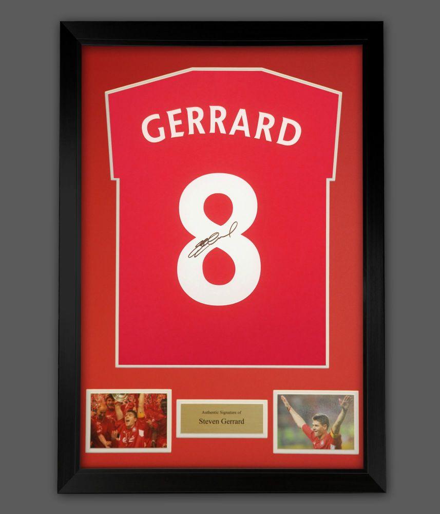 Steven Gerrard  Hand Signed Red T-Shirt In A Frame Presentation : Star Deal
