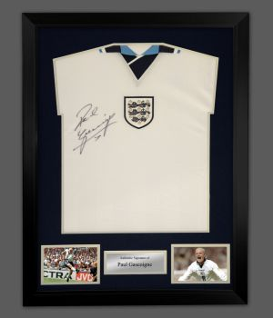 Paul Gascoigne England 96  Signed Football Shirt In A Framed Display : Star Deal