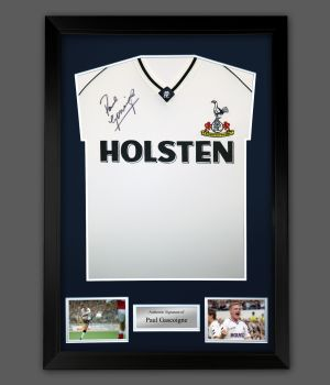 Paul Gascoigne Tottenham Hotspurs  Signed Football Shirt In A Framed Display : Star Deal