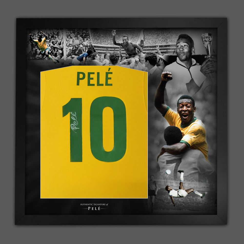 Pele Hand Signed Brazil Style 1970 Football Shirt In Framed Mount Picture