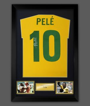 Pele Hand Signed Brazil Style 1970 Football Shirt In A Framed Presentation : Star Deal