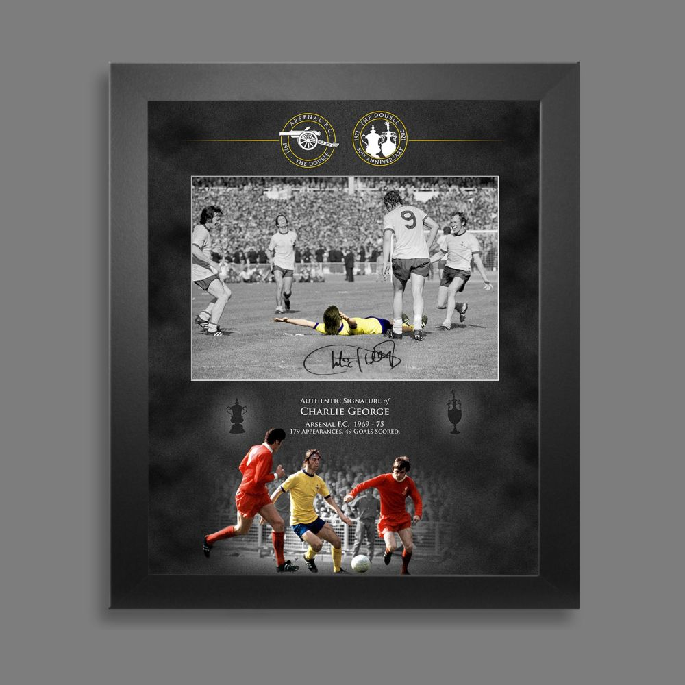 Charlie George Signed  Arsenal Fc 12x16 Photograph Framed In A Picture Mou