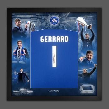 Steven Gerrard Signed  Blue T-Shirt  Framed In A Invincibles Picture Mount Display : A
