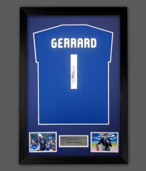 Steven Gerrard  Hand Signed Blue T-Shirt In A Frame Presentation