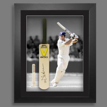 Michael Vaughan Signed Cricket Mini Bat In A  Framed Presentation : A