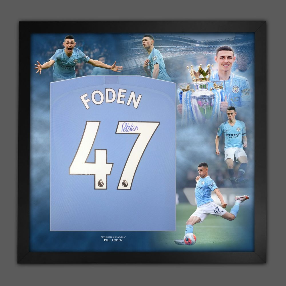 Phil Foden Signed Manchester City  Football Shirt In Framed Picture Presen