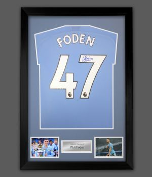 Phil Foden Signed Manchester City Football Shirt In A Framed Presentation