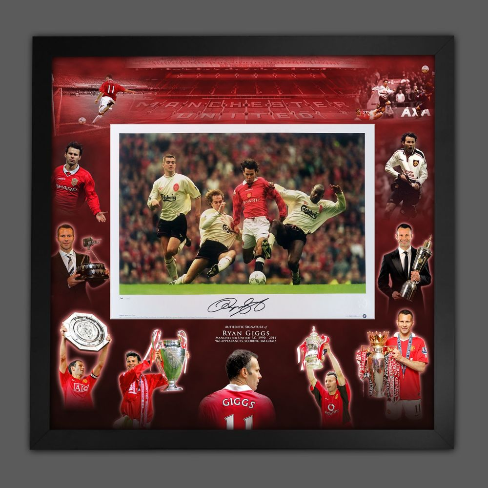 Ryan Giggs Signed Manchester United Football Photograph In A Framed Pictu