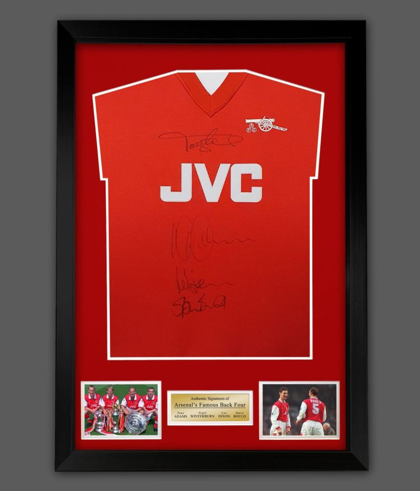 Arsenal Back Four Signed  Football Shirt In Framed Display : Star Deal