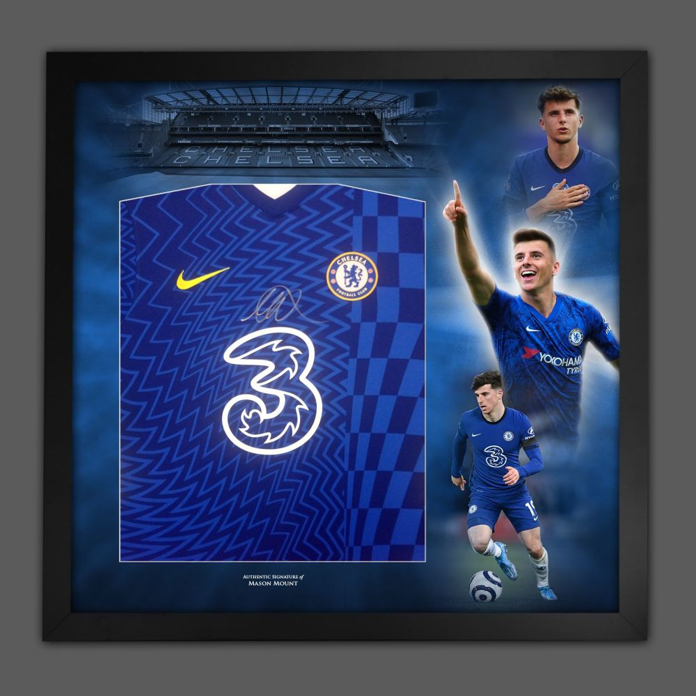 Mason Mount Hand Signed  Chelsea Fc Football Shirt In Framed Picture Pres