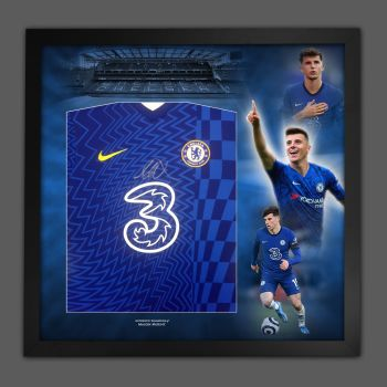 Mason Mount Hand Signed  Chelsea Fc Football Shirt In Framed Picture Presentation