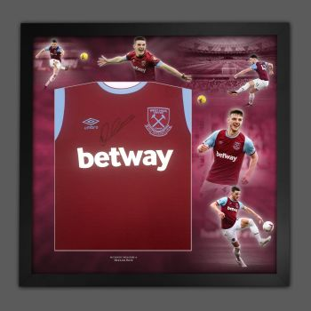 Declan Rice Hand Signed Front West Ham United Football Shirt In Framed Picture Presentation