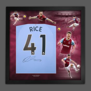 Declan Rice Hand Signed Back  West Ham United Football Shirt In Framed Picture Presentation