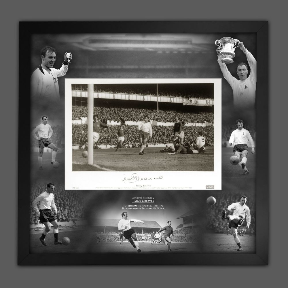 Jimmy Greaves Signed Spurs Fc Football Photograph In A Framed Picture Mou