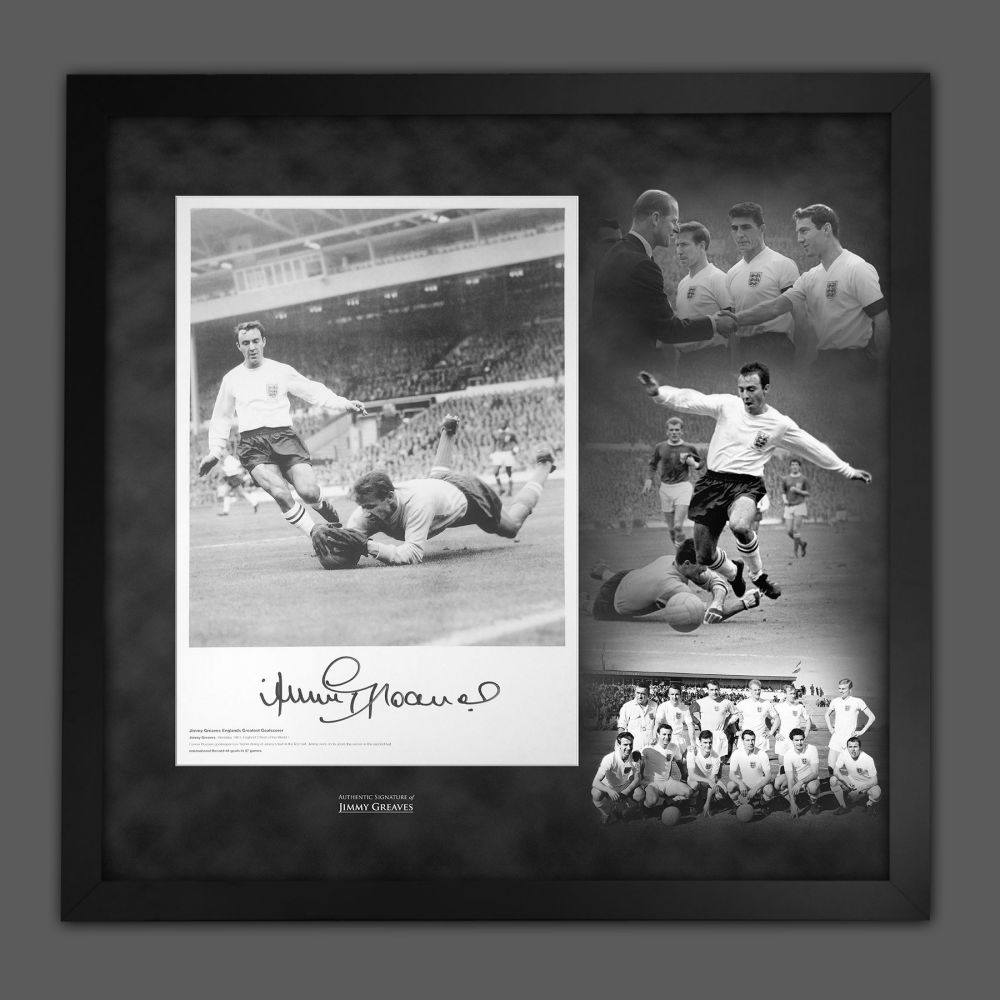 Jimmy Greaves Signed England Football Photograph In A Framed Picture Moun