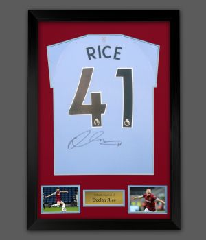 Declan Rice Hand Signed Back West Ham Football Shirt  In A Framed Presentation