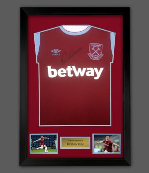Declan Rice Hand Signed Front West Ham Football Shirt  In A Framed Presentation