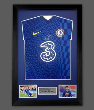 Mason Mount Hand Signed Chelsea Fc  Football Shirt  In A Framed Presentation