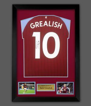 Jack Grealish Hand Signed Aston Villa Fc  Football Shirt  In A Framed Presentation