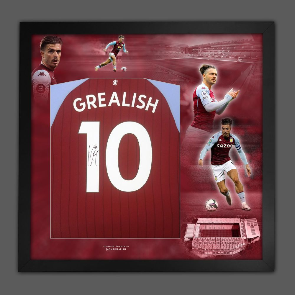 Jack Grealish Signed Aston Villa Fc Football Shirt In A  Framed Picture M