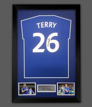 John Terry Hand Signed  Blue T- Shirt  In A Framed Presentation : Star Deal