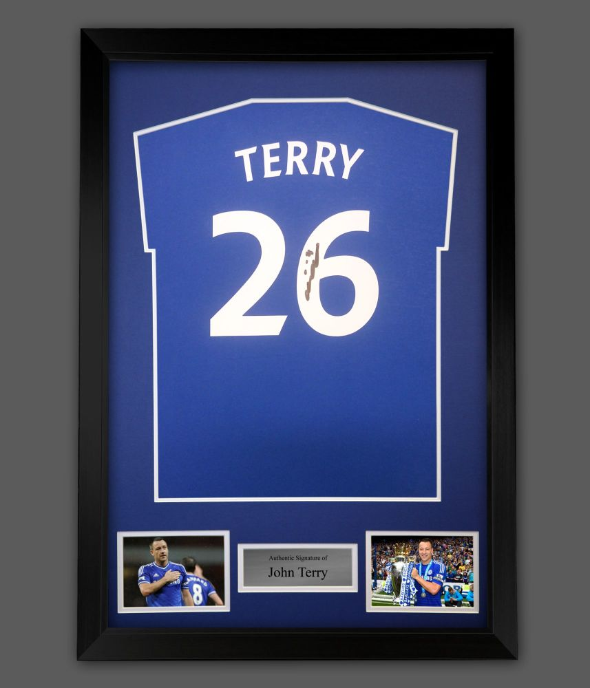 John Terry Hand Signed  Blue T- Shirt  In A Framed Presentation : Star De