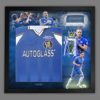 John Terry Signed  Front Chelsea Fc Football Shirt In A  Framed Picture Mount Display